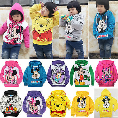 Toddler Kids Boys Girls Cotton Cartoon Hoodie Long Sleeve Sweatshirt Jumper Tops