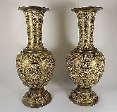 2 Vintage Solid Brass Vases Etched Yellow Enamel Inlay Signed Numbered 13""
