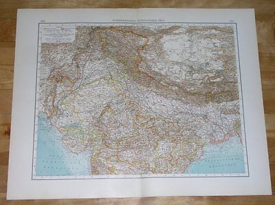 1907 Antique Map Of Northern India Punjab Kashmir / Nepal Himalaya China Tibet