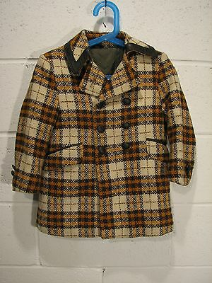 Vintage Kid's Double Breasted Plaid Tweed Coat with Leather Trim