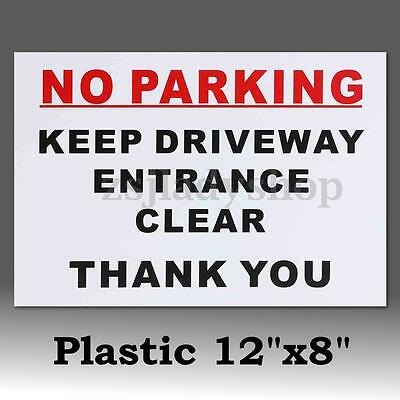 No Parking Keep Driveway Entrance Clear Plastic Warning Signs Stickers Decal