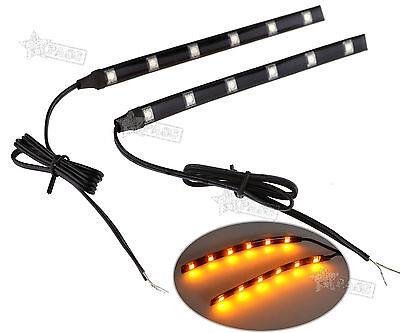 2 X Universal Amber LED Motorcycle Strip Turn Signal Indicator Blinker Light 12V
