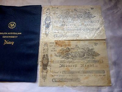 VINTAGE COLONY OF VICTORIA 2 MINERS RIGHTS Dated 1892 & 1893 No 124 & 136