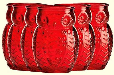Night Owl Shot Glasses Six Red Embossed Shooters Home Essentials 2.8 ounces