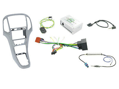 Panel complete kit Double 2 DIN Opel Astra J SILVER with commands steering wheel