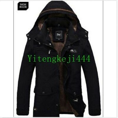 NEW Winter Mens Hooded Parka Thick Military Trench Coat Ski Jacket Cotton Hot SZ