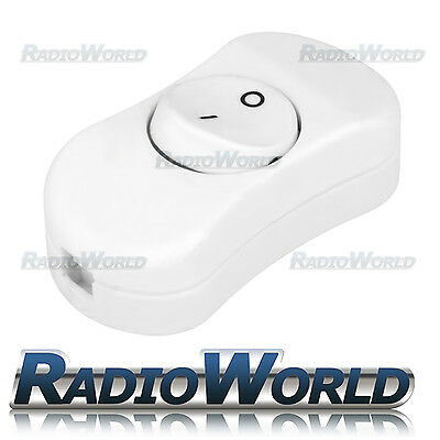 White 2-Core In-Line 3Amp Switch ON/OFF SPST Suitable for Table/Standards Lamps