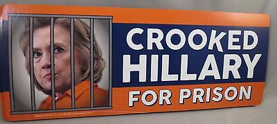 WHOLESALE LOT OF 10 CROOKED HILLARY FOR PRISON MAGNET stickers 2016 Trump $ ANTI