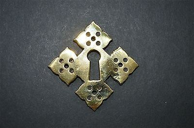 Superb solid brass Gothic escutcheon keyhole plate Gothic Revival GE1