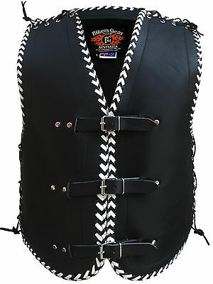 Mens Motorcycle Club Buckle Vest 3Mm Thick Cowhide Leather Black And White