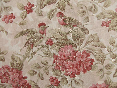 Antique French 19th century bird pink green floral c1880 ~