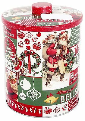 Vintage Christmas Storage Biscuit Cookie Barrel Tin With Lid 18Cm
