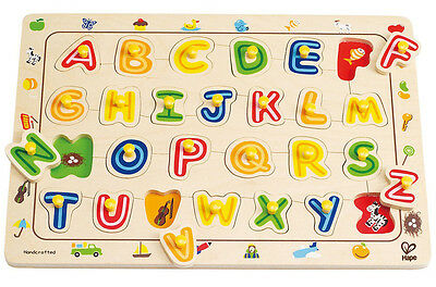 Hape ABC MATCHING PEG PUZZLE Wooden Educational Toy Alphabet Baby Toddler BN