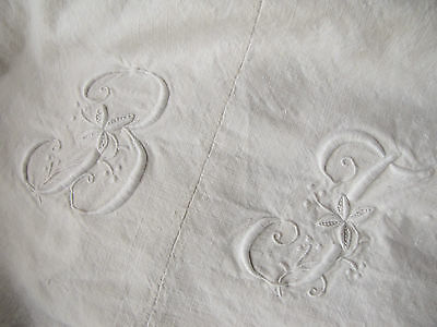 Antique vintage French metis linen cotton sheet Beautiful White monogram 81X102