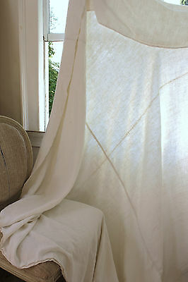 Antique French  linen sheet hand-woven natural textile ~87X77 18th century cloth