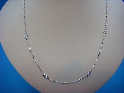 "7 Stations 0.70 Ct ""diamonds By The Yard"" 14K White Gold Necklace, 18 Inch Long"