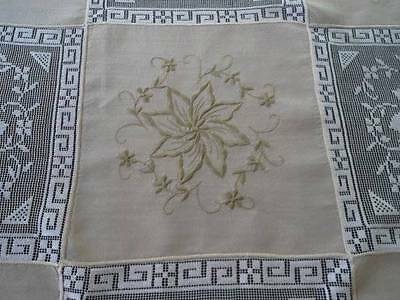 """Vintage Ecru Army Navy Filet Lace Embroidered Linen Tablecloth Beige 89"""""""