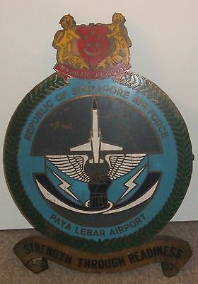 Republic Of Singapore Air Force Hand Painted Copper Sign From Paya Lebar Airport