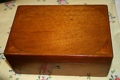 Antique Victorian Walnut Wood Inlaid Shell Design Box Jewellery Sewing Vintage