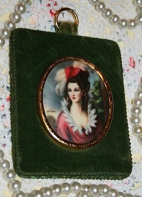 Old Vintage Velvet Rococo French Style Woman Portrait Hanging Picture Baroque