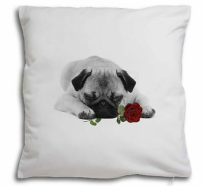 Pug (B+W Photo) with Red Rose Soft Velvet Feel Cushion Cover With , AD-P92R2-CPW