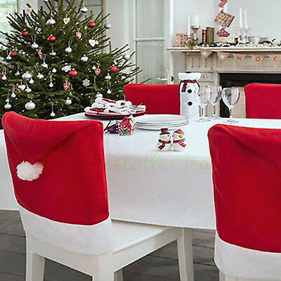 Christmas Santa Hat Dining Chair Back Covers for Party Xmas Chair Decoration