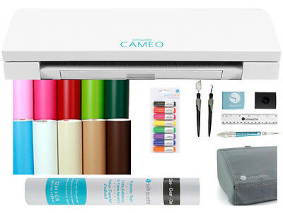 New Silhouette Cameo 3 Bluetooth VINYL STARTER  BUNDLE Free Cover