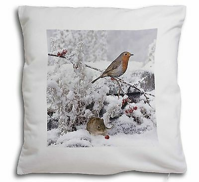 Snow Mouse and Robin Print Soft Velvet Feel Scatter Cushion Christmas, AMO-5-CPW