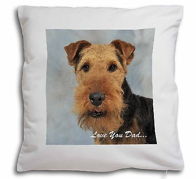 Welsh Terrier Dog 'Love You Dad' Soft Velvet Feel Scatter Cushion C, DAD-136-CPW