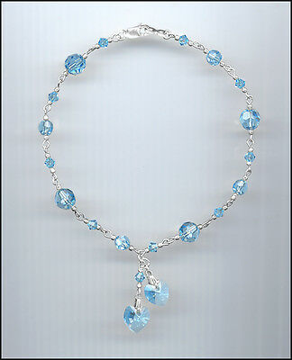 Beautiful Sterling Silver Charm Anklet with Swarovski AQUAMARINE Crystal Hearts
