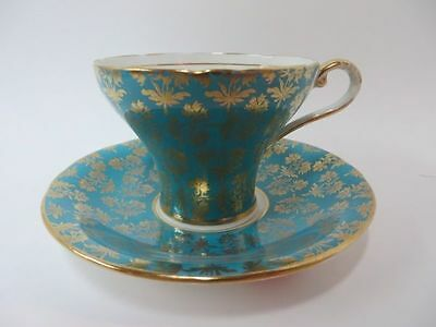 Aynsley England Dark Teal Green with Gold Gilt Teacup & Saucer