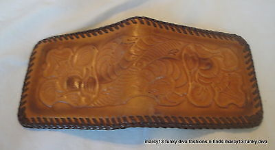 Vintage Embossed Leather 50's Western Style Wallet Rockabilly Cowboy Hillbilly