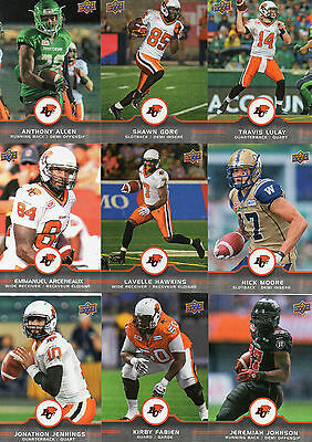 2016 Upper Deck CFL Football B.C. Lions Offensive Players Team Set (10)