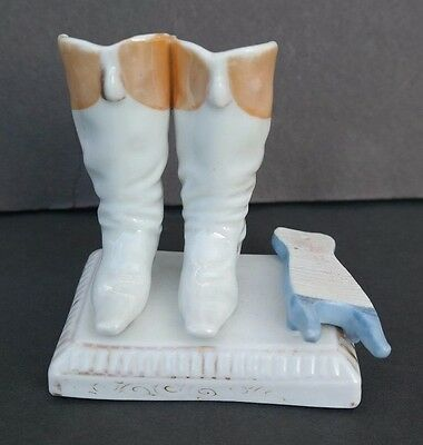 VTG Riding Boots Match Holder Striker Porcelain Bisque Hand Painted figurine