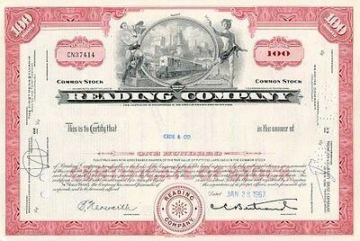 Reading Railroad Company authentic stock certificate famous in monopoly game