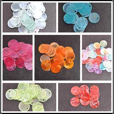 50pcs Assorted Color 13/15/18MM Flat Round Mother Of Pearl Shell Coin Drop Charm
