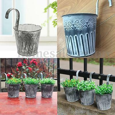 Vintage Metal Hanging Planter Flower Pot Balcony Garden Plant Home Decor