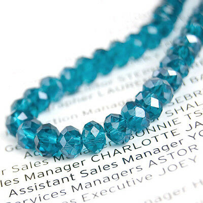 Faceted Rondelle Crystal Glass Beads16'' Blue Zircon
