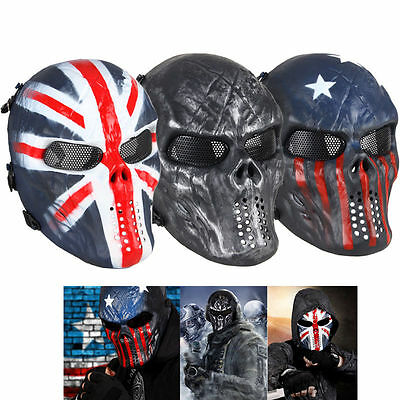 Airsoft Paintball Tactical Gear CS War Game Full Face Skull Mask Protection