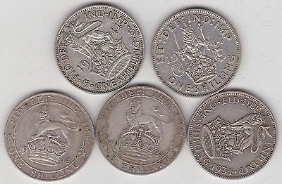 5 Silver Shillings In Good Fine Or Slightly Better 1914 To 1944