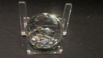 Swarovski SCS Clear Faceted Paperweight Black Swan & Logo inside & Stand