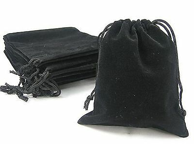 New 10 x Black Velvet Drawstring Jewellery Packaging Bags Gift Pouches 7 x 9 cm