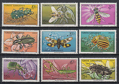 Turkey / Türkei 1981 - 1983 ☀ insects, bugs and beetles ☀ 9 MNH