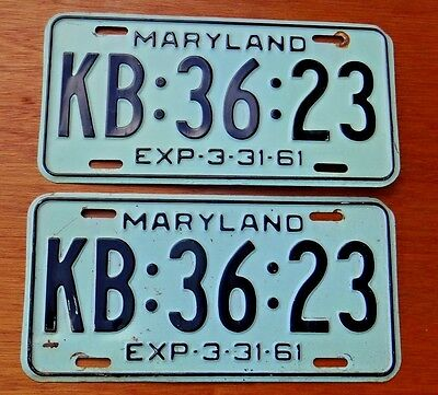 1961 Maryland License Plates Tags Matched Pair KB 3623  Original