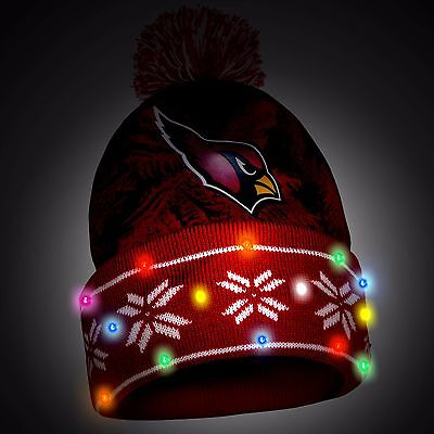 dca318d00f4 Arizona Cardinals Big Logo Light Up Printed Beanie Winter Hat Toque Cuffed  Pom