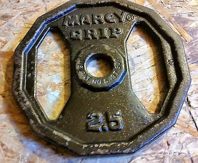 Vintage Mid Century Era Cast Iron Marcy Grip Barbell Dumbbell Weight