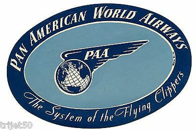 Pan American World Airways Transatlantic Luggage Label The Flying Clippers