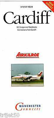 Airline Timetable Air Kilroe 1993 Winter Cardiff-Manchester