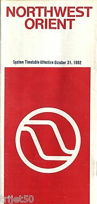 Airline Timetable Northwest Orient 1982 October