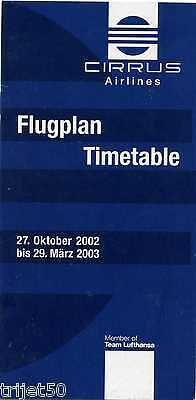 Airline Timetable Cirrus Airlines 2002 Winter